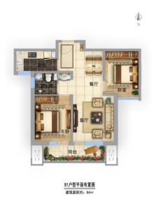 B1户型84㎡两室