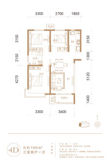 4D户型100㎡三室