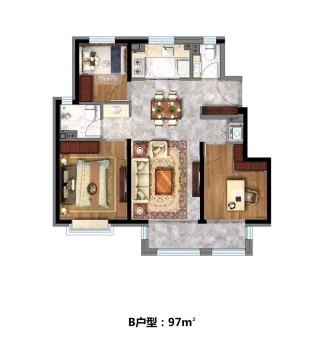 (安次)华润凯旋门3室2厅2卫97m²