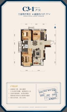 C3-1户型107.77三室